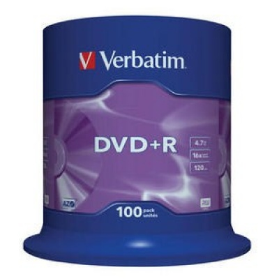 VERBATIM DVD+R(100-Pack)Spindle/General Retail/16x/4.7GB