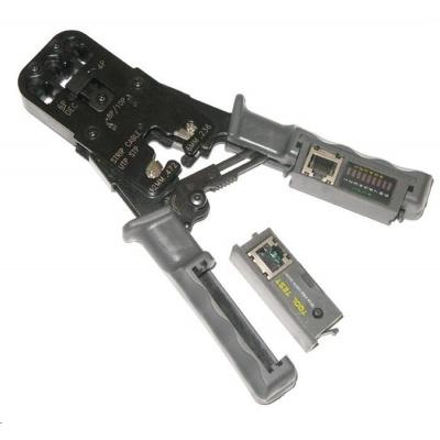 Kleště PROFI+ s ráčnou pro konektory RJ11, RJ12, RJ45 s testerem a LED indikací