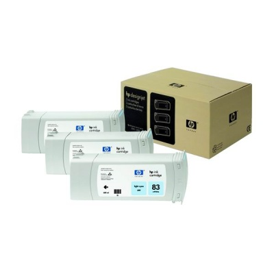 HP 83 Light Cyan UV DJ Ink Cart, 680 ml, 3-pack, C5076A