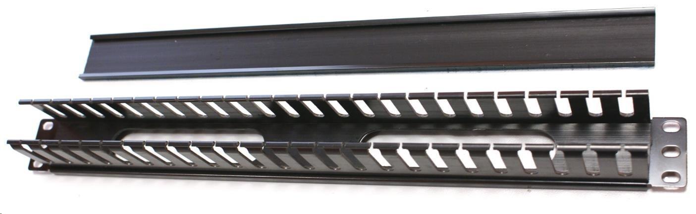 """19"""" vyvazovací panel 1U, s plastovým krytem, profil 4x5cm, černý"""