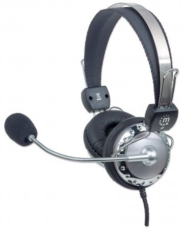 MANHATTAN Sluchátka s mikrofonem, lehce nastavitelná s flexibilním mikrofonem