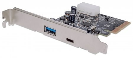 MANHATTAN USB 3.1 PCI Express Card, Two external SuperSpeed+ USB 3.1 ports, 1 Type-C and 1 Type-A