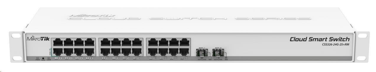 MikroTik Cloud Smart Switch CSS326-24G-2S+RM, 24 non-blocking gigabit.portů, 2xSFP+, Marvell DX switch chip, SwOS