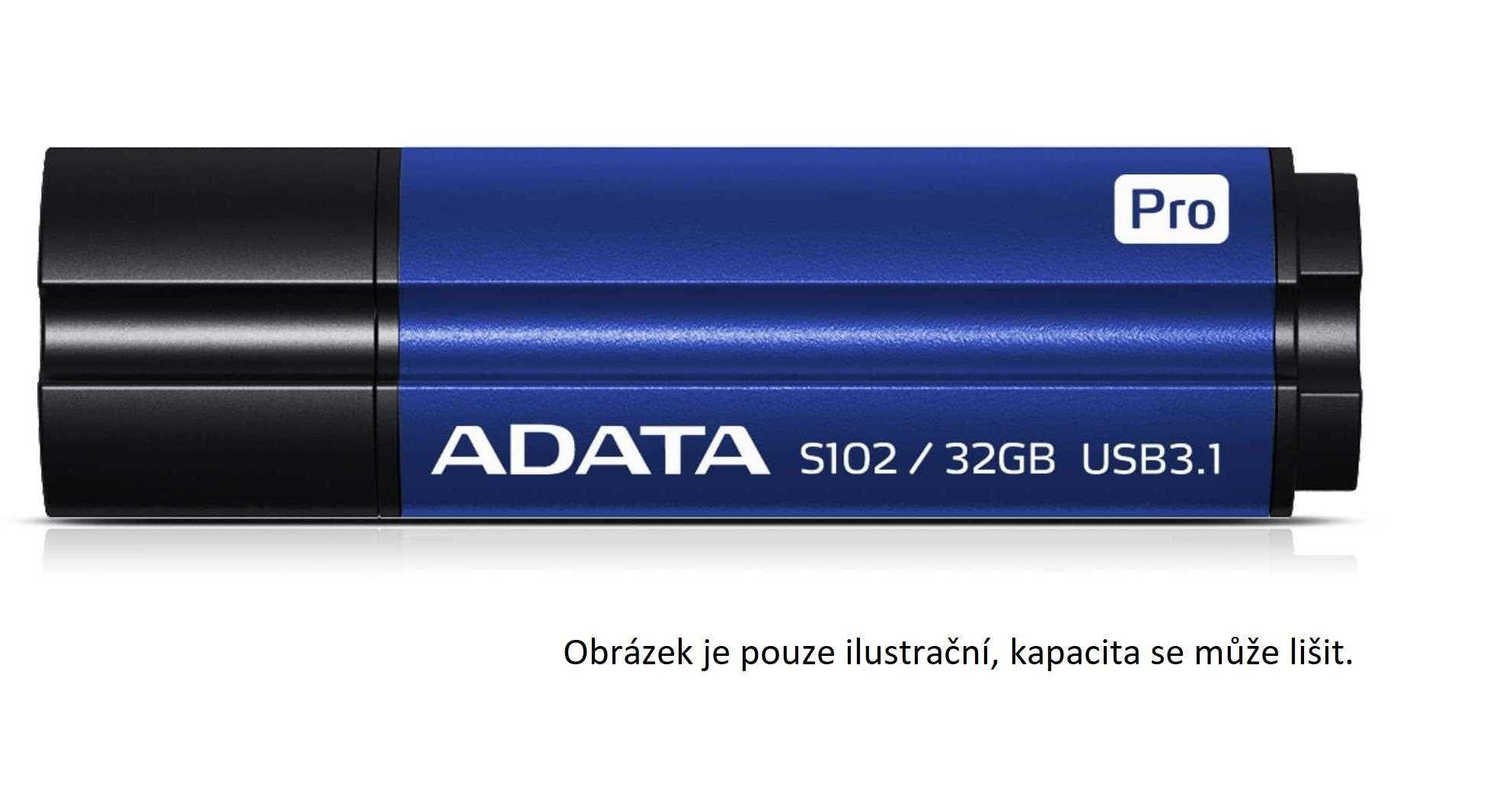 ADATA Flash Disk 128GB USB 3.0 Superior S102 Pro, hliníkový, modrý (R: 100MB / W: 50MB)