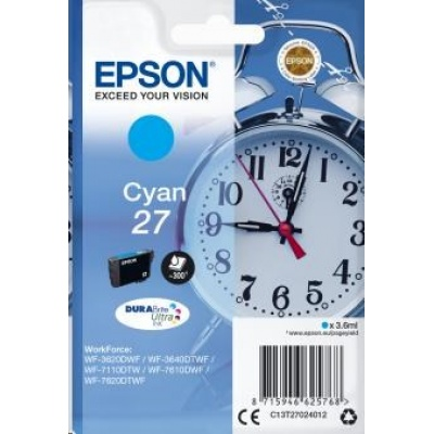 "EPSON ink bar Singlepack ""Budík"" Cyan 27 DURABrite Ultra Ink"